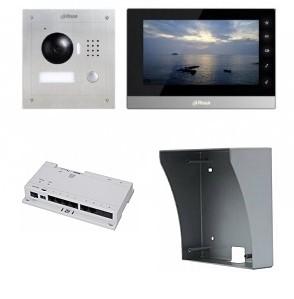 IP-Anlage Schwarz mit 1.3MP Aufputz-Türstation und Smartphone APP