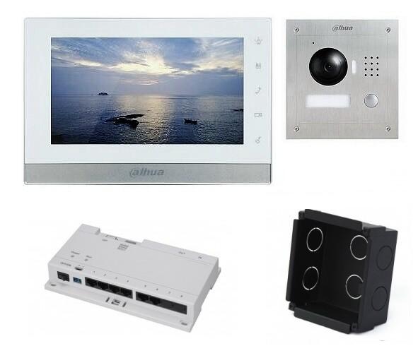 IP-Anlage Weiss mit 1.3MP Unterputz-Türstation und Smartphone APP