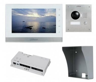 IP-Anlage Weiss mit 1.3MP Aufputz-Türstation und Smartphone APP