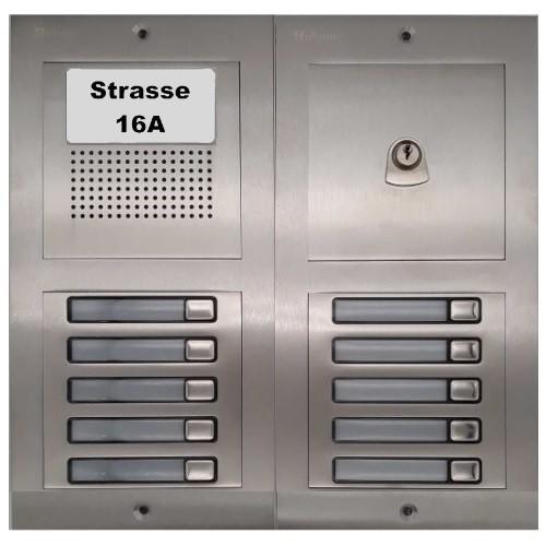 Türstelle NX-A-5-5-P (10 Klingeltasten, Audio, Postzylinder, Front Edelstahl, Unterputz)