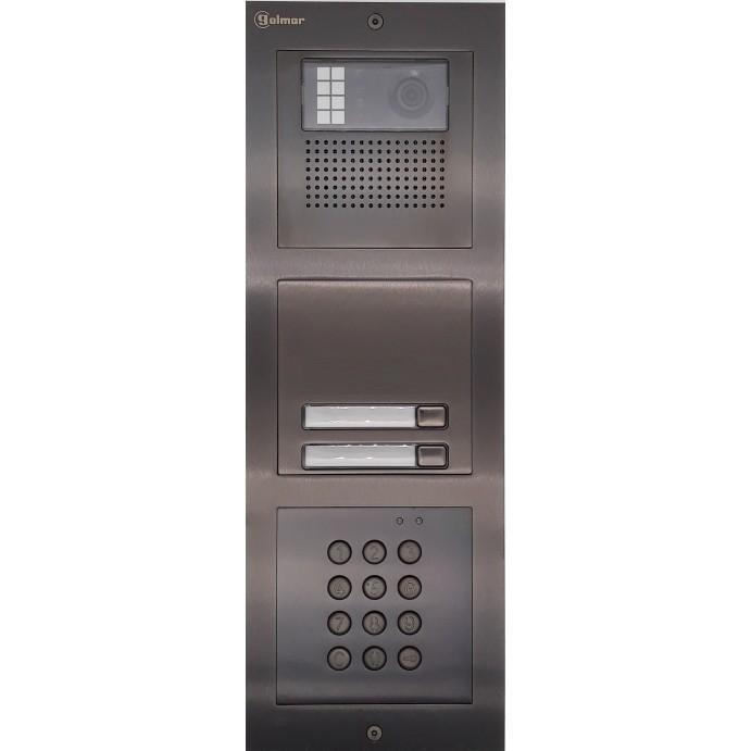 Türstelle NX-K-2-C-6014 (zwei Klingeltasten, Video, Codetastatur, Front Edelstahl anthrazit, Unterputz)