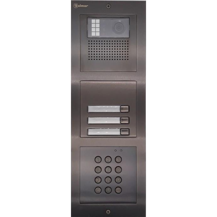 Türstelle NX-K-3-C-6014 (drei Klingeltasten, Video, Codetastatur, Front Edelstahl anthrazit, Unterputz)