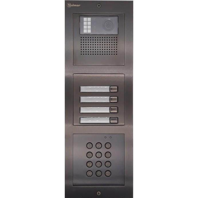 Türstelle NX-K-4-C-6014 (vier Klingeltasten, Video, Codetastatur, Front Edelstahl anthrazit, Unterputz)