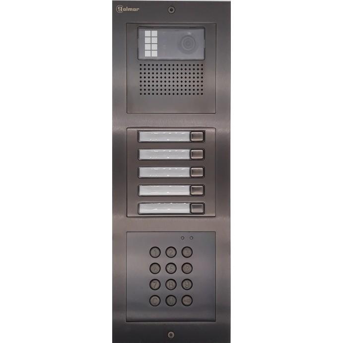 Türstelle NX-K-5-C-6014 (fünf Klingeltasten, Video, Codetastatur, Front Edelstahl anthrazit, Unterputz)