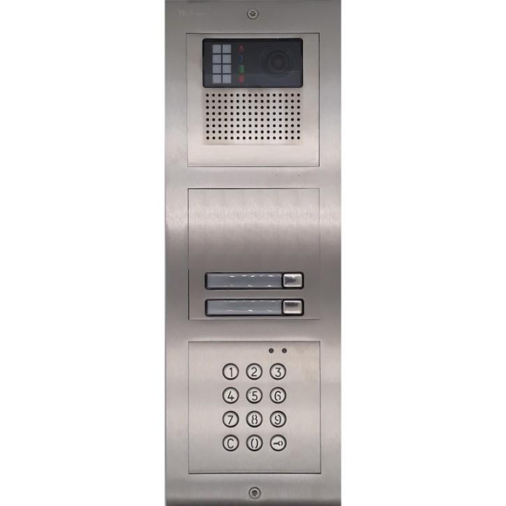Türstelle NX-K-2-C (zwei Klingeltasten, Video, Codetastatur, Front Edelstahl, Unterputz)