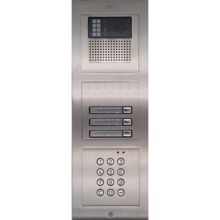 Türstelle NX-K-3-C (drei Klingeltasten, Video, Codetastatur, Front Edelstahl, Unterputz)