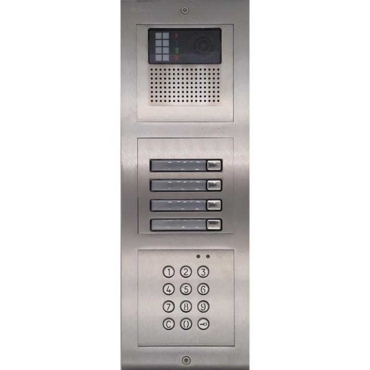 Türstelle NX-K-4-C (vier Klingeltasten, Video, Codetastatur, Front Edelstahl, Unterputz)