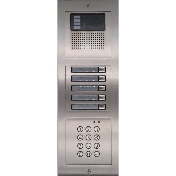 Türstelle NX-K-5-C (fünf Klingeltasten, Video, Codetastatur, Front Edelstahl, Unterputz)