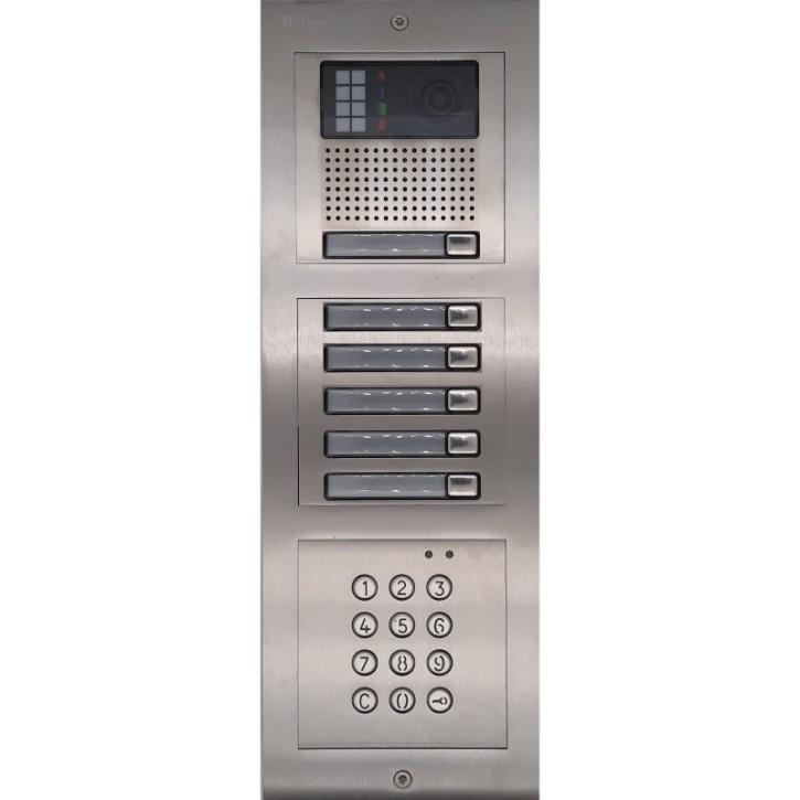 Türstelle NX-K1-5-C (sechs Klingeltasten, Video, Codetastatur, Front Edelstahl, Unterputz)