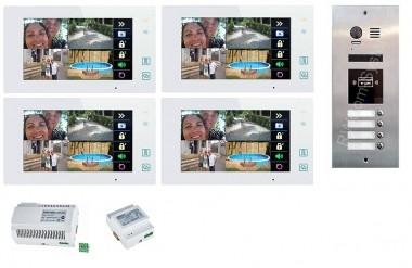 """4x 7"""" BUS-Monitor Weiß & 170° Edelstahl Türstation mit RFID-Zutrittsystem"""