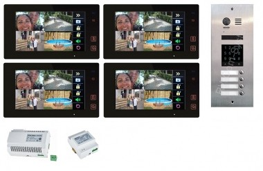 "4x 7"" BUS-Monitor Black & 170° Edelstahl Türstation mit Code-Zutrittsystem"