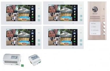 """4x 7"""" BUS-Monitor Weiß & 170° Aufputz Türstation mit RFID-Zutrittsystem"""