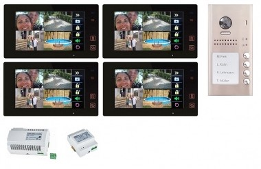 """4x 7"""" BUS-Monitor Schwarz & 170° Aufputz Türstation mit RFID-Zutrittsystem"""