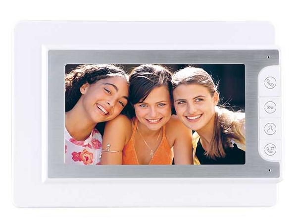 Bildschirm V4D-G weiß / 7 Zoll / 3 CCTV-Anschlüsse / 1 x Videoaufzeichnung