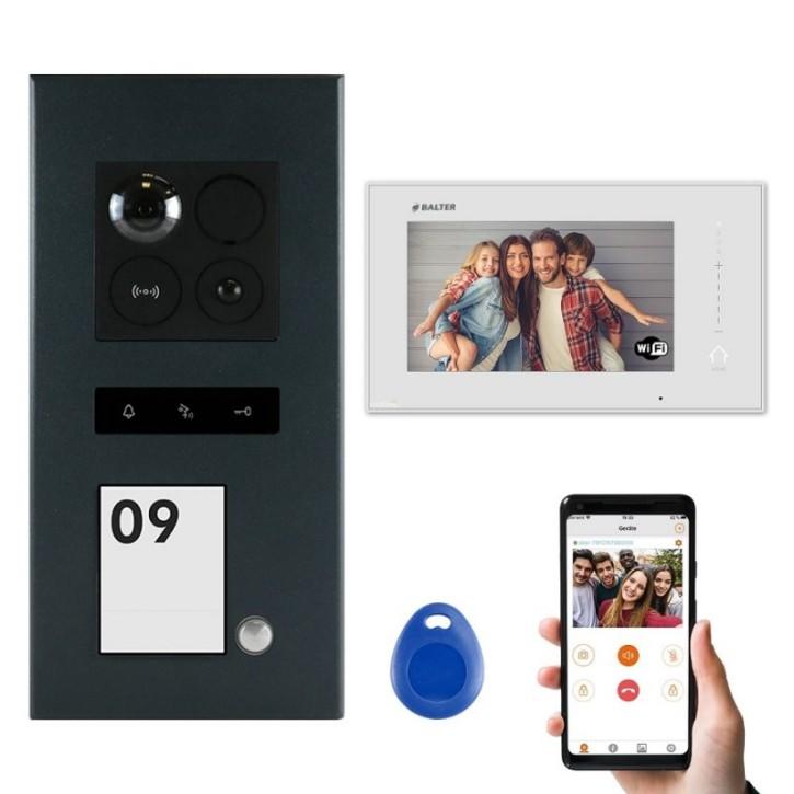 """BALTER ERA Schwarz 2-Draht BUS Türsprechanlage Unterputz für 1 Teilnehmer 1x 7"""" WIFI Monitor IP Komplett SET RFID"""