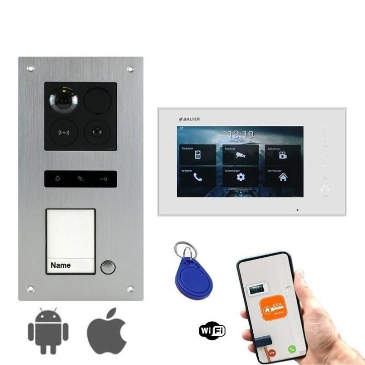 """BALTER ERA Silber 2-Draht BUS Türsprechanlage Unterputz für 1 Teilnehmer 1x 7"""" WIFI Monitor IP Komplett SET RFID"""