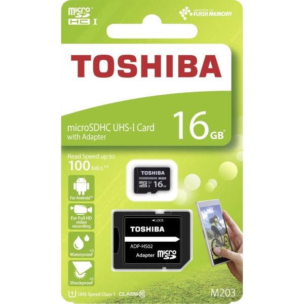 Toshiba M203 microSDHC-Karte 16 GB Class 10, UHS-I inkl. SD-Adapter